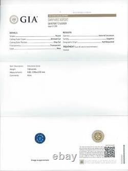 1 Carat Gia Certifié Sapphire Round Cut Naturel Loose Rich Blue Earth Mined 1ct