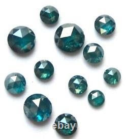 1+ Carat Lot De Bleu Rond Brut Rose Coupé Diamants Polis