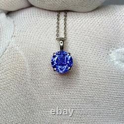 1 Carat VIVID Violet Bleu Tanzanite Platinum Solitaire Collier Pendentif Rond