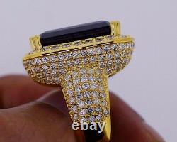 20 Carats Blue Stone & 8 Carat Diamonds Mens Ring Celebrity Style 10k Gold Vidéo