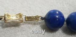 23 Necklace De 10mm Lapis Lazuli & (14kt) Quatre Bois D'or Karat Yellow