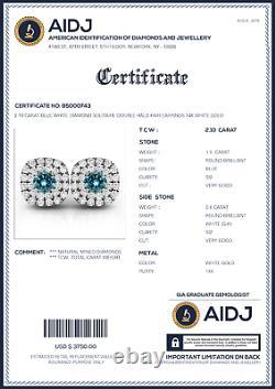 2.10 Carat Blue White Diamond Solitaire Double Halo Paire Boucles D'oreilles Or Blanc 14k
