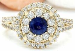 2.10 Carat Saphir Naturel 14k Massif Or Jaune Bague Diamant