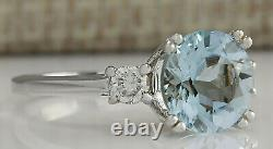 2.33 Carat Natural Aquamarine 14k Bague Diamant En Or Blanc
