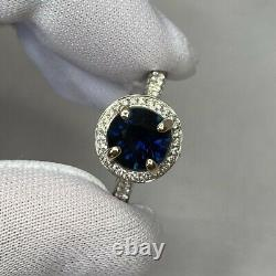 2.35 Carat Deep Saphir Bleu Et Diamant 18k Bague Halo Or Blanc 8mm Coupe Ronde