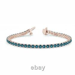 2.43 Carat Bleu Si1 Diamant Rond En Ligne Pong Set Bracelet14k Rg Pour Les Femmes