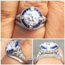 2.50 Carat Round Cut Diamond Vintage Edwardian Antique Filigree Ring Era 1837