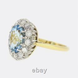 2.50 Carat Santa Maria Aquamarine Et Diamond Cluster Anneau 18ct Or Jaune
