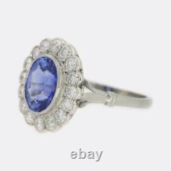 2.51 Carat Cornflower Blue Sapphire Et Diamond Ring Platinum