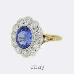 2.65 Carat Saphir Et Bague De Cluster Diamant 18ct Or Jaune