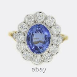 2.65 Carat Sapphire Et Diamond Cluster Ring 18ct Or Jaune