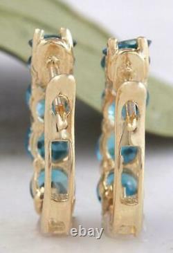 2.70 Carats London Blue Topaz 14k Or Jaune Finition Boucles D'oreilles Huggie Pour Cadeau