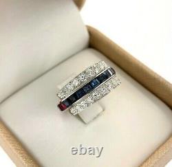 2.75 Carats Bleu Saphir, Ruby & Pave Rond Diamant Anneau Réversible D'éternité