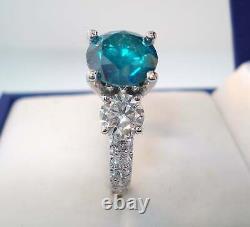 2.88 Carat Enhanced Blue Diamond Three-stone Engagement Ring, 14k Or Blanc