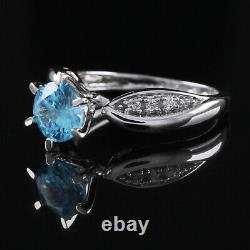 2 Carat Blue 14k White Gold Fancy Solitaire Bague De Fiançailles Fabuleux $1679.96