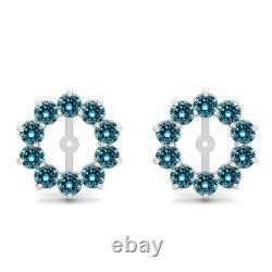 2 Carat Blue Si2 Round Diamond Solitaire Stud Earring Jacket Halo 14k Or Blanc