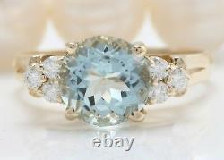 3.10 Carat Natural Blue Aquamarine Et Diamond 14k Solid Yellow Gold Women Ring