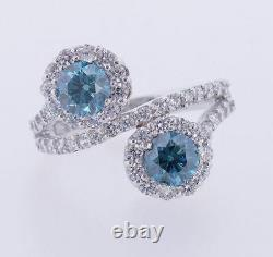 3.25 Carat Blue Round Vs2 Diamond Bridal Engagement Ring 14k Wg Asaar Deal