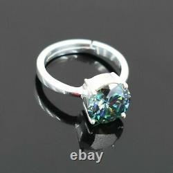 3.50 Carat Certified Blue Diamond Solitaire Ring, Grande Shine & Luster