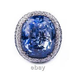 40.22 Carat Ceylan Sapphire Blanc Rond Cz Beautiful Engagement 925 Silver Ring