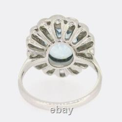 4.00 Carat Aquamarine Et Diamond Cluster Ring Platine