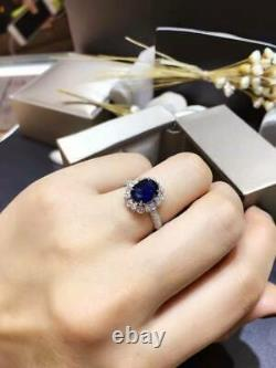 4.00carat Oval Cut Blue Sapphire & Diamond Engagement Ring 14k Finition Or Blanc