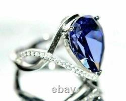 4.00carat Pear Cut Saphir Bleu Et Bague De Fiançailles Diamant 14k Or Blanc Finition