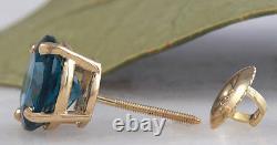 4.25 Carats Natural London Blue Topaz 14k Solid Yellow Gold Stud Boucles D'oreilles