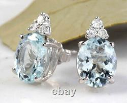 4.25 Carats Naturel Aquamarine Et Diamond 14k Boucles D'oreilles En Or Massif Blanc