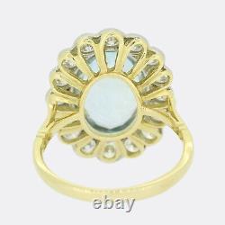 4.50 Carat Aquamarine Et Diamant Grande Bague À Grappes