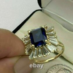4.50 Carat Emeraude Coupe Bleu Saphir Halo Bague De Fiançailles 14k Or Jaune Finition