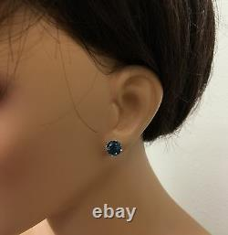 4.50 Cravates Naturelles London Blue Topaz 14k Boucles D'oreilles En Or Massif Blanc