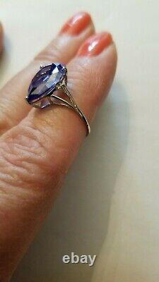 4.70 Carat Lab Tanzanite & (2 Pcs) Diamant 10kt Bague En Or Blanc Massif Taille 7