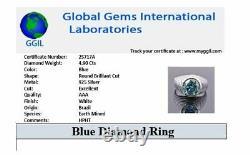 4.90 Carat Blue Diamond Bague Lourde Pour Homme En Lunettes Style- Excellente Coupe & Lustre
