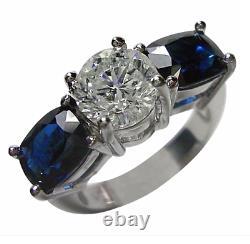 5.20 Carat Diamond And Blue Sapphire Bague De Fiançailles 18k Or Blanc
