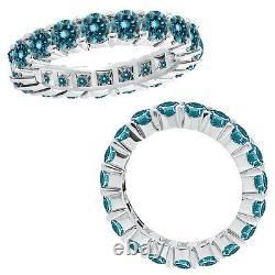 5.25 Carat Blue Round Diamond Full Eternity Fancy Bague De Fiançailles 14k Or Blanc