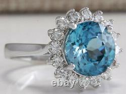 5.72 Carat Natural Zircon 14k Bague Diamant En Or Blanc