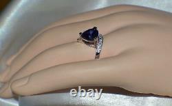 5 Carat Premium Aaa Tanzanite & 12 Vvs Diamond Gypsy Cocktail Dîner 14k Gold Pl