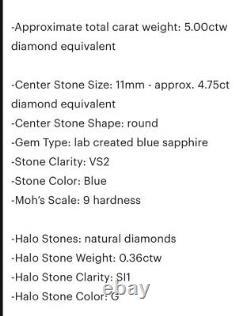 5 Carat Saphir Et Diamond Halo 14k Bague En Or Massif Blanc