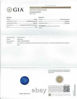 6.13ct Gia Certifié Ceylon Sapphire Coupe Ronde Royal Blue Natural Loose 6 Carats