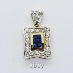 $7500 Énorme Sur Mesure Fait 3.00 Carat Saphir Bleu Et Pendentif En Grappe De Diamant