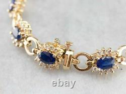7.00 Carat Oval Cut Blue Sapphire Tennis Bracelet 14k Yellow Gold Over 7.25