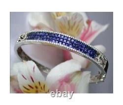 7.00 Carat Round Cut Vvs1 Blue Diamond Tennis Bracelet 14k Or Blanc Plus De 7.25