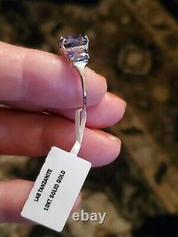 8.09 Carat Lab Tanzanite 10kt Bague En Or Blanc Massif Taille 8