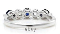 91 Carat Natural Blue Sapphire Diamonds In 14k Solid White Gold Woman Ring