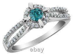 Anneau De Diamant Blanc Et Bleu 1/2 Carat (ctw) En Argent Sterling