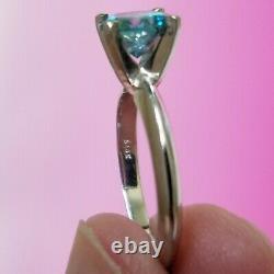 Anneau De Fiançailles Solitaire, 1.43 Carat Fancy I2 Blue Diamond, Or Blanc 14k