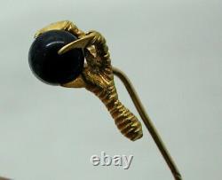 Antique 15 Carat Gold Et Lapiz Lazuli Eagles Talon Stick / Épinglette Cravate