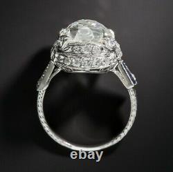 Art Déco 10.40 Carat Old Mine Cut Diamond 925 Solid Silver Engagement Women Ring