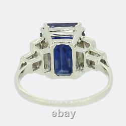 Art Déco 5.66 Carat Saphir Birmane Non Chauffé Et Bague En Diamant Platinum